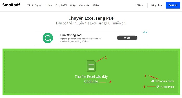 chuyển excel sang pdf online