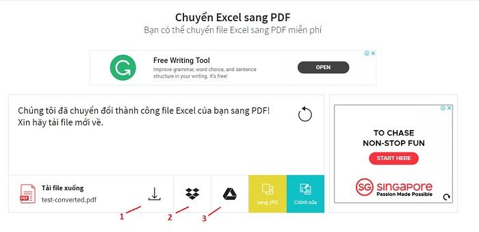 hướng dẫn chuyển excel sang pdf online
