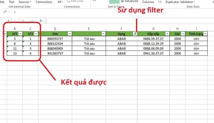 hướng dẫn đánh số thứ tự khi lọc dữ liệu trong excel