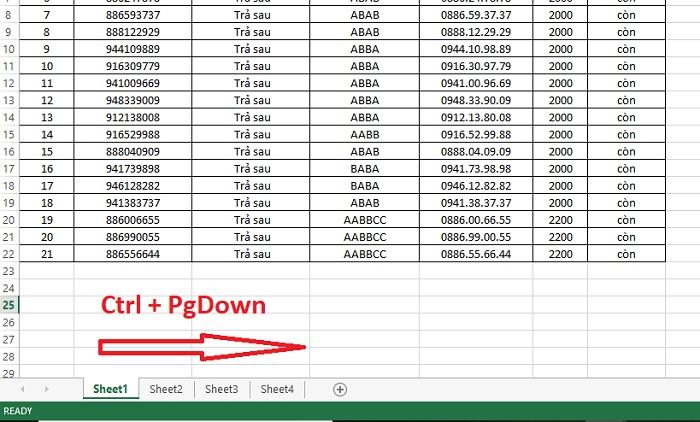 phím tắt chuyển sheet trong excel 2010