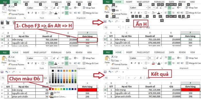 phím tắt tô màu trong excel 2010
