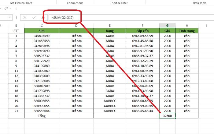 sửa lỗi tính tổng trong excel bằng 0 2010