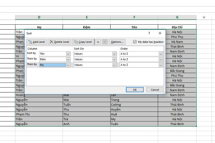 sắp xếp theo abc trong excel