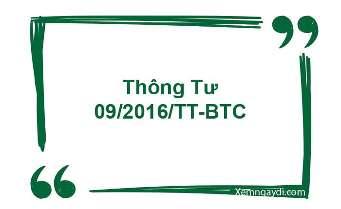thông tư 09/2016/TT-BTC