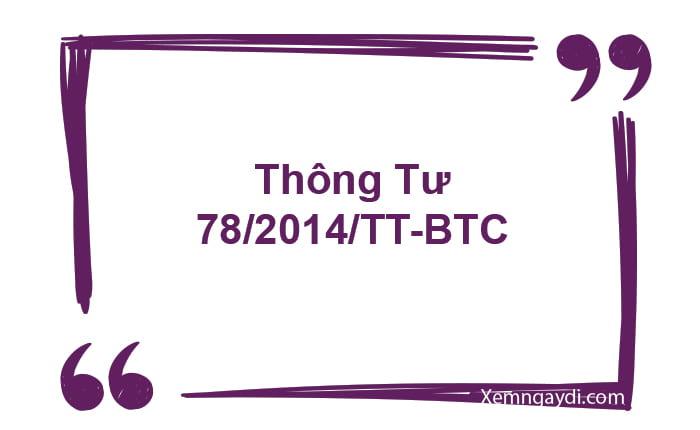 thông tư 78/2014/TT-BTC