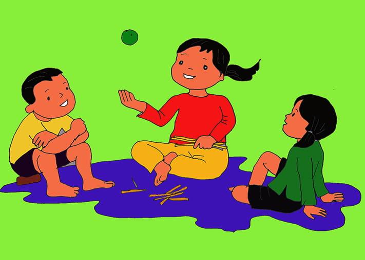 Tranh vẽ đề tài trò chơi dân gian chơi chuyền