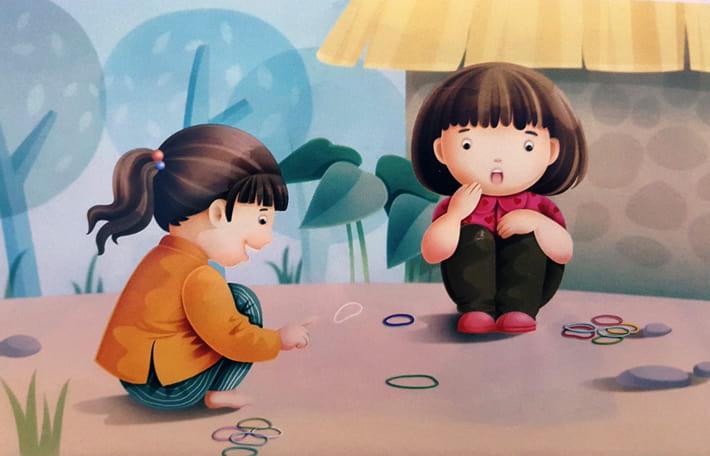 Tranh vẽ đề tài trò chơi dân gian gẩy chun