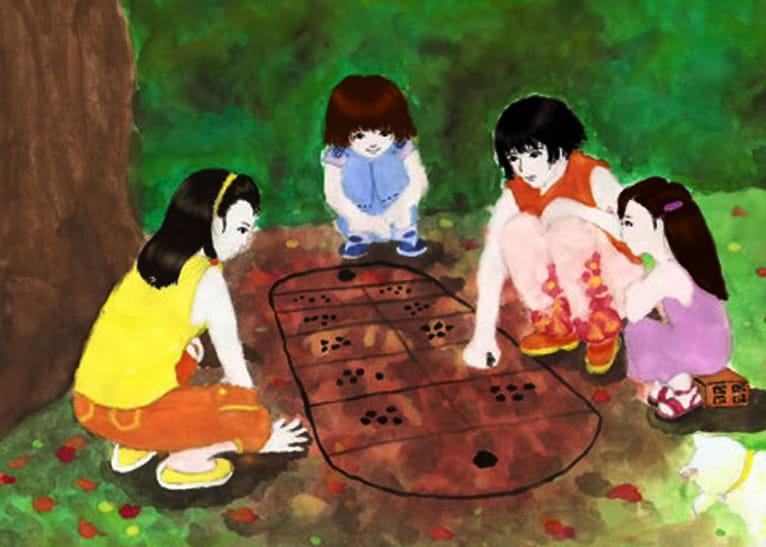 Tranh vẽ đề tài trò chơi dân gian ô ăn quan
