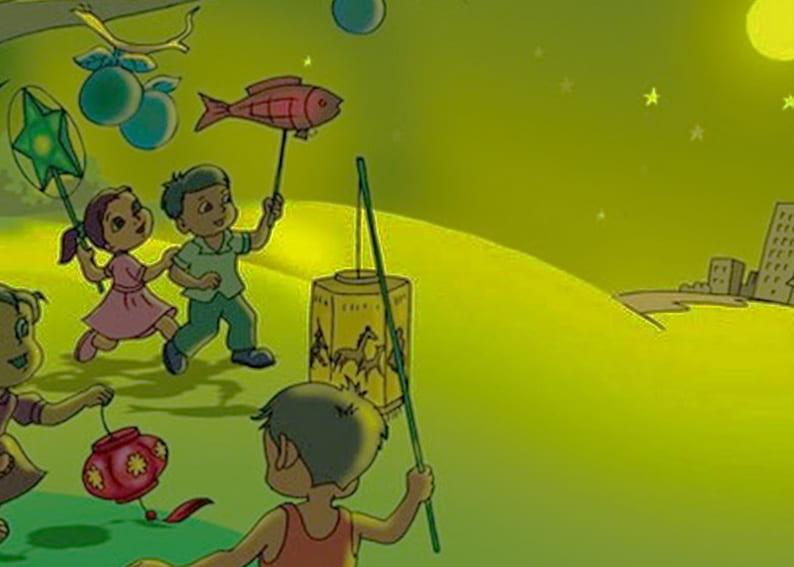 Tranh vẽ đề tài trò chơi dân gian rước đèn trung thu