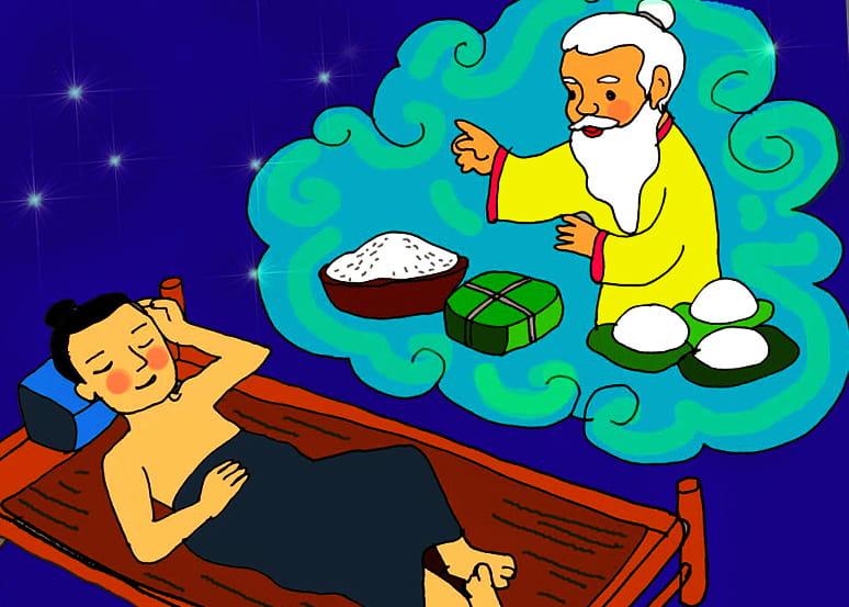 minh họa cảnh Lang Liêu làm bánh chưng bánh dày