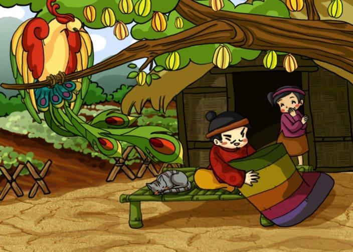 minh họa truyện cổ tích cây khế