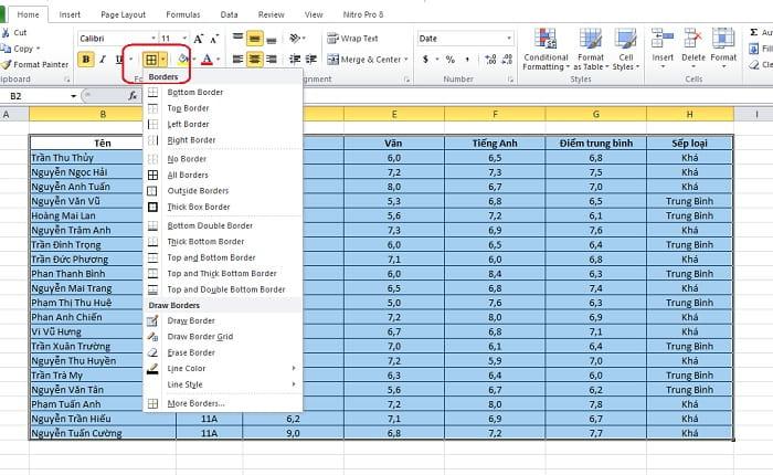 Cách tạo bảng trong excel 2010