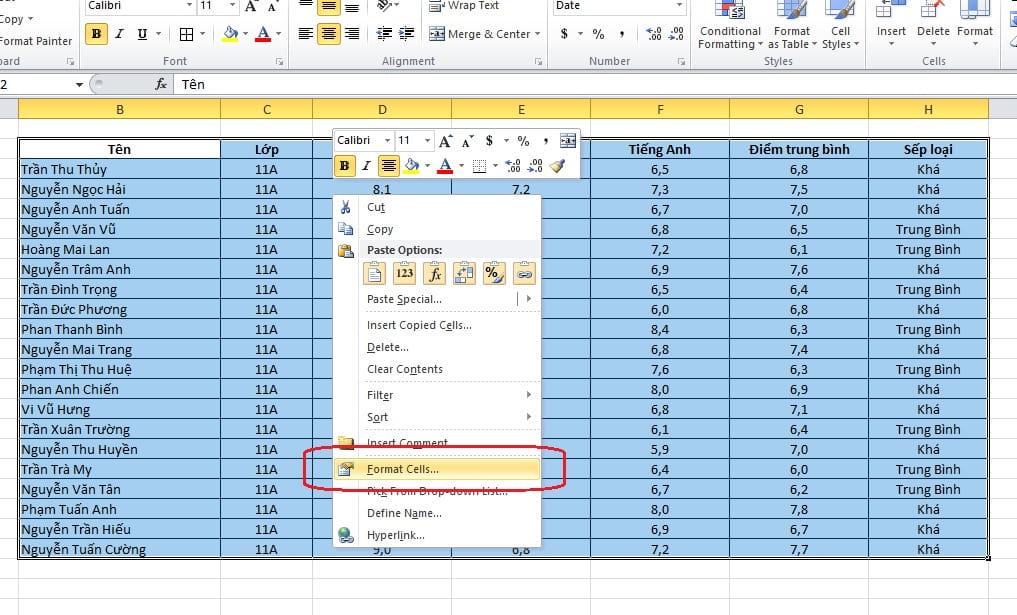 hướng dẫn tạo bảng trong excel 2010